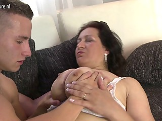 Dirty mature mom plays with not her son