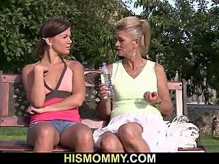 Lesbian granny pleasing her son's GF